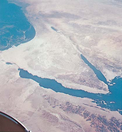 Sinai Peninsula The Sinai Peninsula as seen from space.NASA